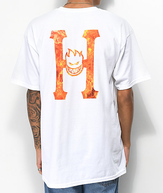 HUF x Spitfire Flaming H White T-Shirt