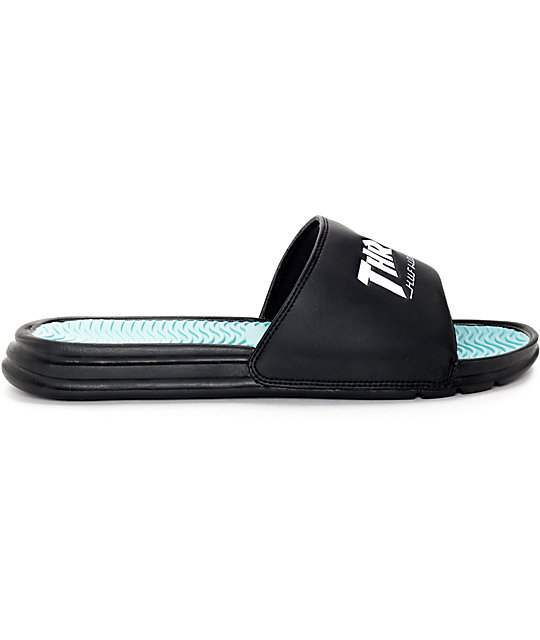 cd5a27775d35 ... HUF x Thrasher Black Slide Sandals