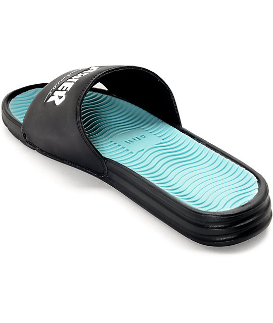 ceeb2999192d ... HUF x Thrasher Black Slide Sandals ...