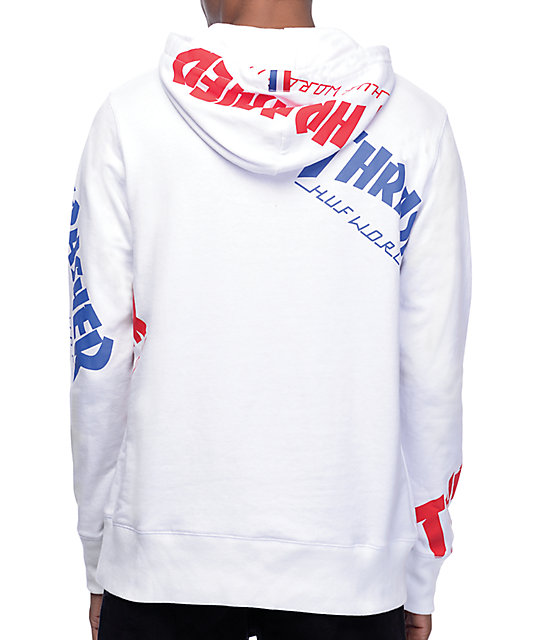 0ceb9f52872d ... HUF x Thrasher TDS Allover White Hoodie ...