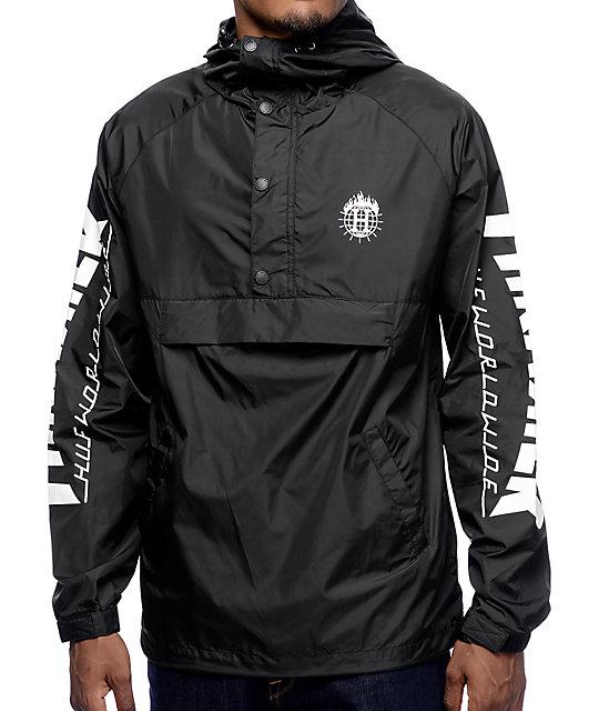 71705d9f2b1e HUF x Thrasher TDS Black Anorak Windbreaker Jacket