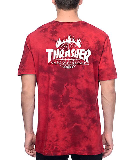 fdc3f67a2b6f HUF x Thrasher TDS Crystal Red Tie Dye T-Shirt