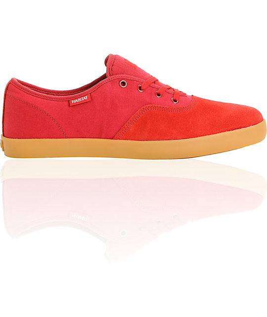 Habitat Expo Red Suede & Canvas Skate Shoes