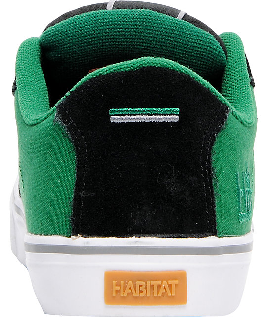 Habitat Lark Black & Green Suede Skate Shoes