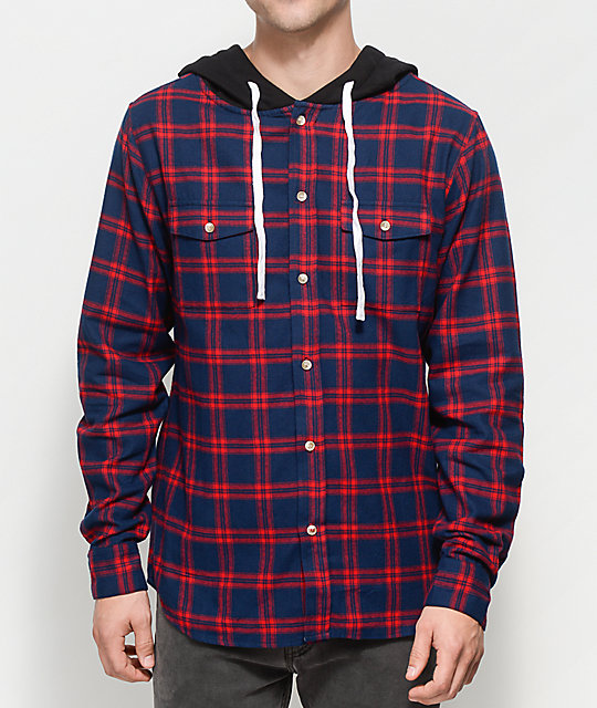 Halfwits Colling Red & Navy Hooded Flannel