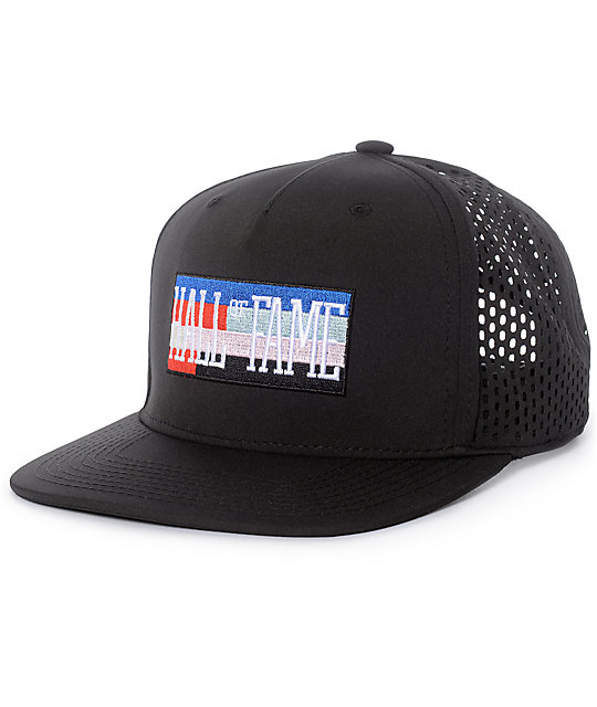 Hall Of Fame DIA Black Perforated Snapback Hat  0a9942453323