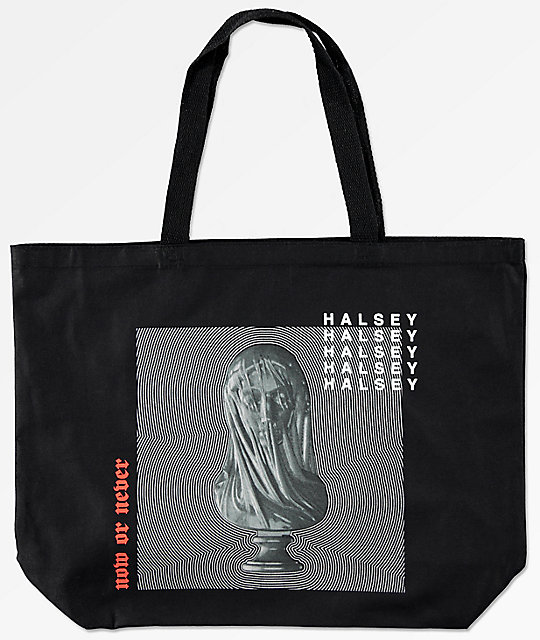 Halsey Statue Black Tote Bag