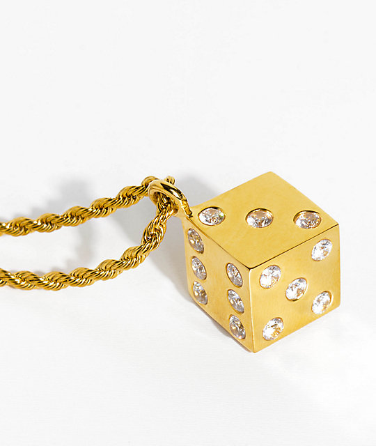 Han Cholo Gold Dice Pendant Necklace