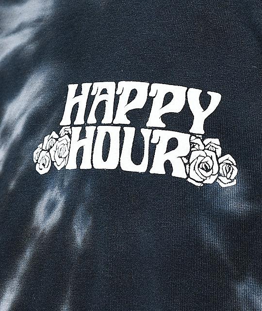 0ac81eee9dcc ... Happy Hour Dancing Pineapple Black Tie Dye Long Sleeve T-Shirt ...