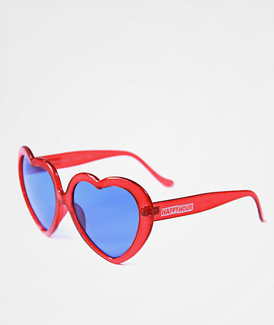 Happy Hour Heart Ons Glitter Red & Purple Sunglasses