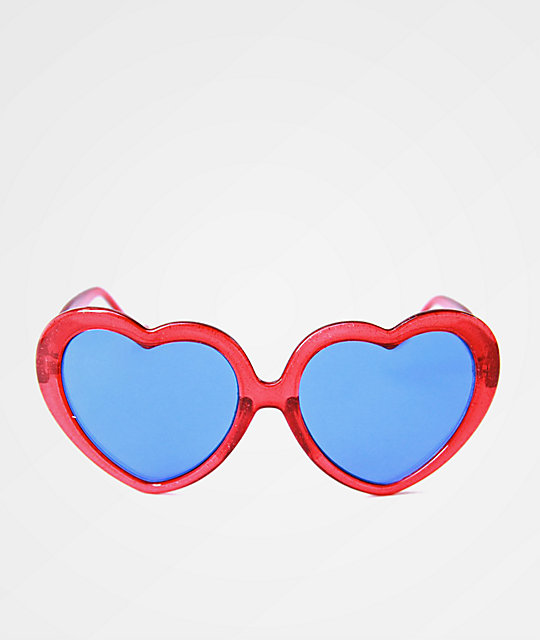 Happy Hour Heart Ons gafas de sol en rojo brillante y morado
