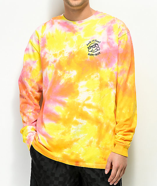 Happy Hour Smile It's Free Yellow Tie Dye Long Sleeve T-Shirt