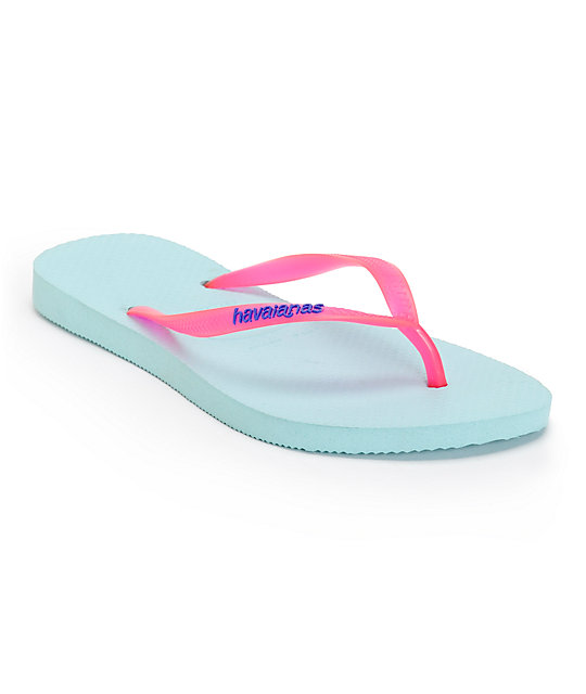 7c8fa3062607 Havaianas Slim Logo Popup Aqua Flip Flops