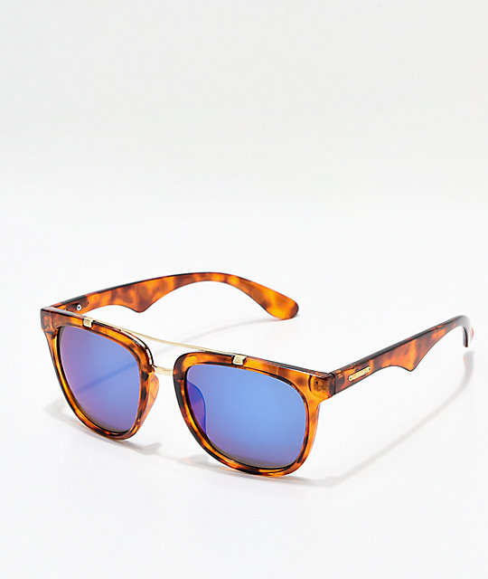 Havanna Brown Tortoise Blue Mirror Sunglasses