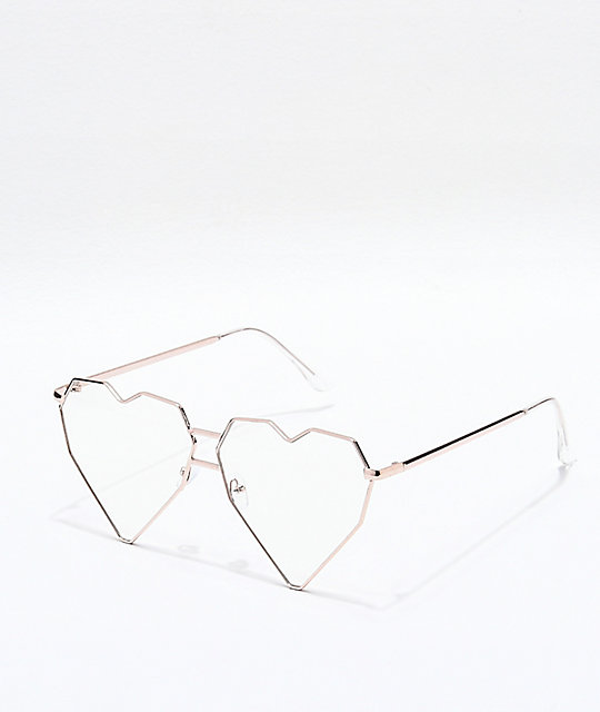 Heart Throb Gold & Clear Glasses