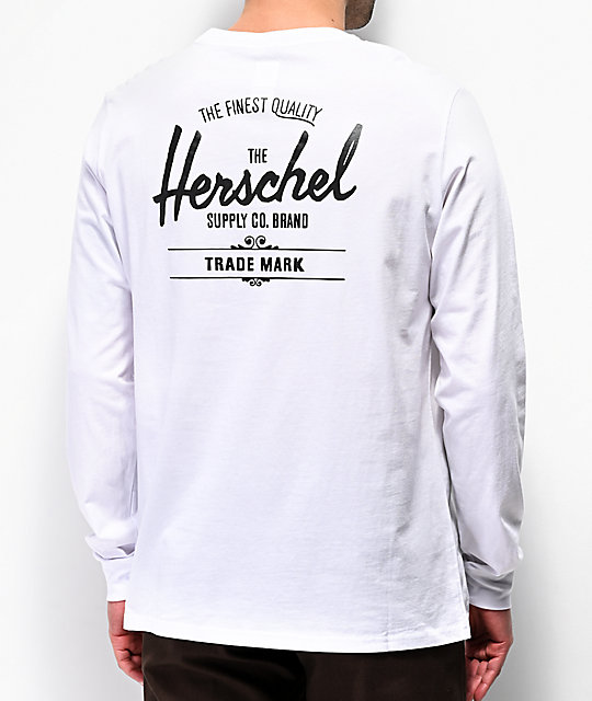 Herschel Classic Logo White Long Sleeve T-Shirt