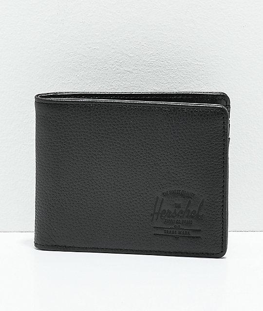 Herschel Hank Leather RFID Wallet In Black Pebbled Leather