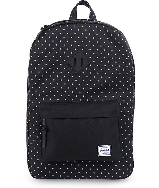 487734a9b2fb Herschel Supply Co Heritage Black Polka Dot Backpack Zumiez