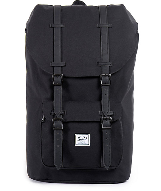 Herschel Supply Co. Little America Black   Black Synthetic Leather 25L  Backpack  7fa8b32bba38c