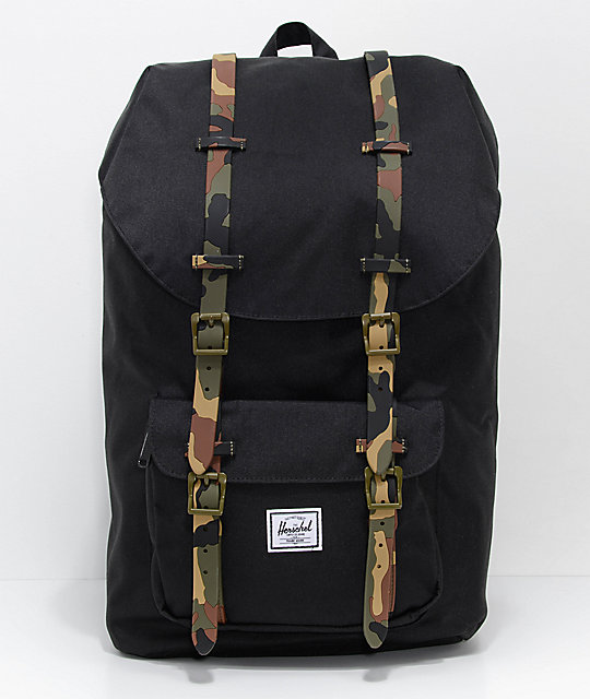 wyprzedaż resztek magazynowych sprzedaż obuwia zamówienie online Herschel Supply Co. Little America Black Woodland Camo 25L Backpack