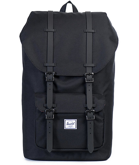 713a73bb108 Herschel Supply Co. Little America Black on Black Rubber 17L Backpack