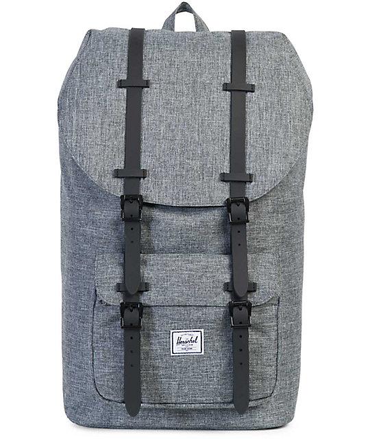 88d15857055 Herschel Supply Co. Little America Raven Crosshatch   Black Rubber 25L  Backpack