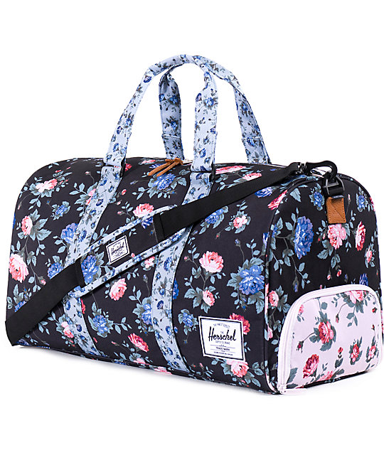 7538604cfcf6 Herschel Supply Co. Novel Black Floral Duffle Bag