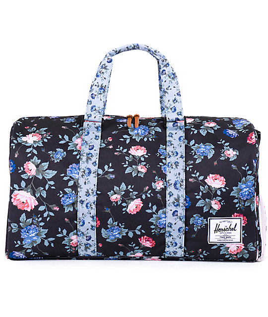 Herschel Supply Co. Novel Black Floral Duffle Bag  ad49a0a9c0337