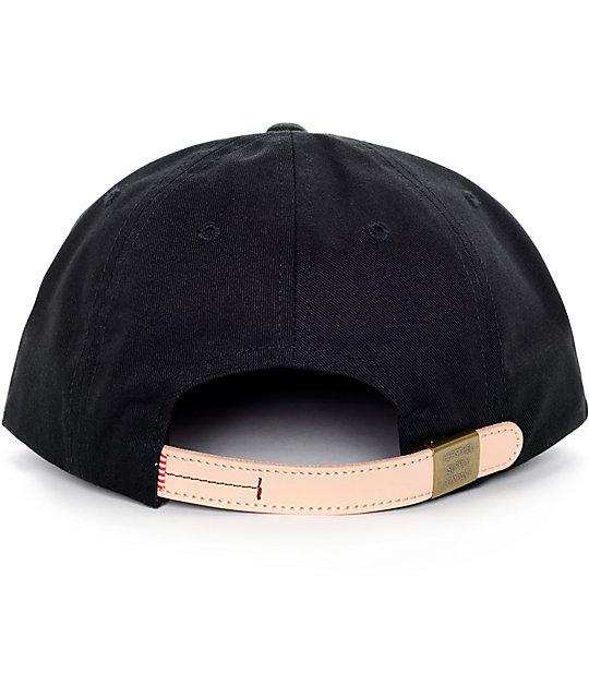 Owen Black Strapback Hat  Herschel Supply Co. Owen Black Strapback Hat c25dfcd67402