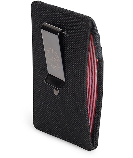 Herschel Supply Co. Raven Black & Dark Shadow Cardholder Moneyclip Wallet