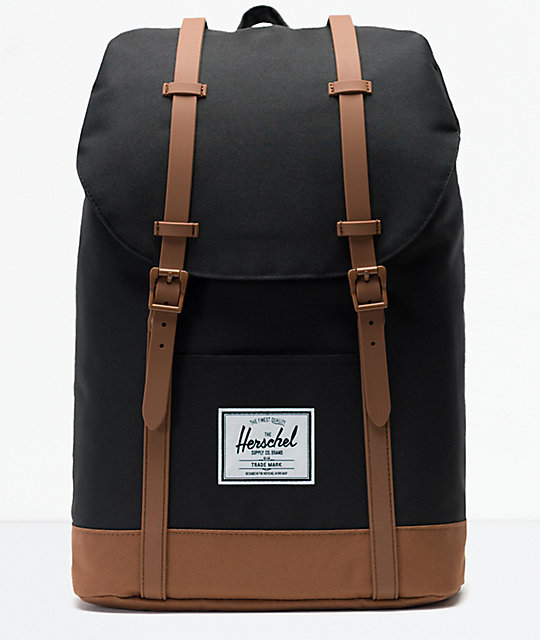 822f1cd85df Herschel Supply Co. Retreat Black and Saddle Brown Backpack