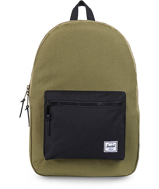 Herschel Supply Co Settlement Backpack: Herschel Supply Co. Settlement Army Green & Black Backpack
