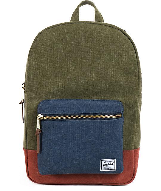 6ba428211029 Herschel Supply Co. Settlement Army Green   Blue Canvas Backpack