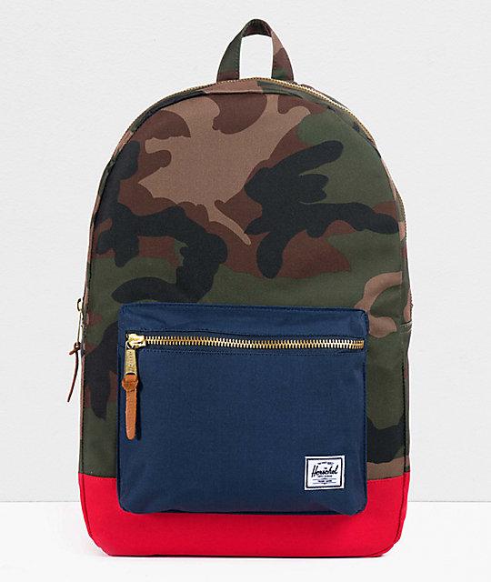 Herschel Supply Co Settlement Backpack: Herschel Supply Co. Settlement Camo, Navy & Red Backpack