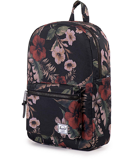 7b6b45466dc ... Herschel Supply Co. Settlement Mid Black   Hawaiian Floral Print 17L  Backpack