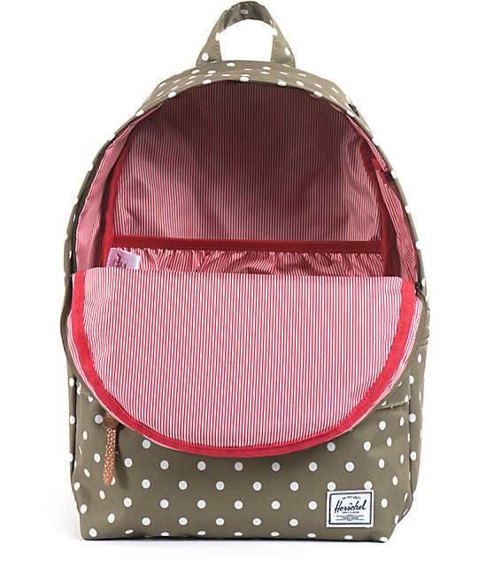 Herschel Supply Co. Sydney Olive Polka Dot Backpack