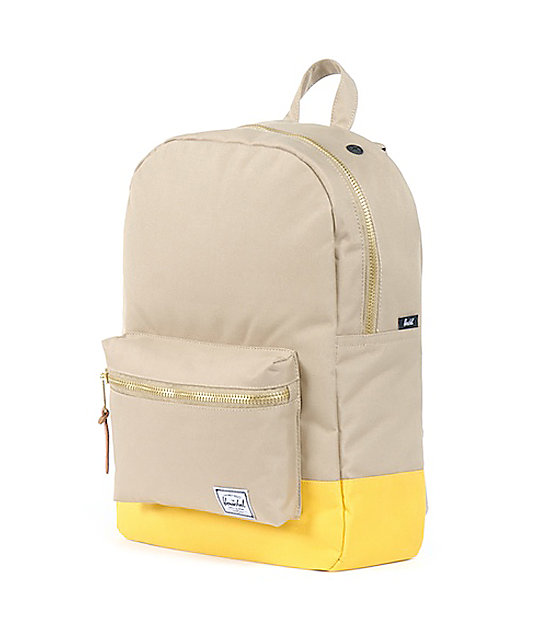 Herschel Supply Co. Taupe & Yellow Mid-Volume Settlement Backpack
