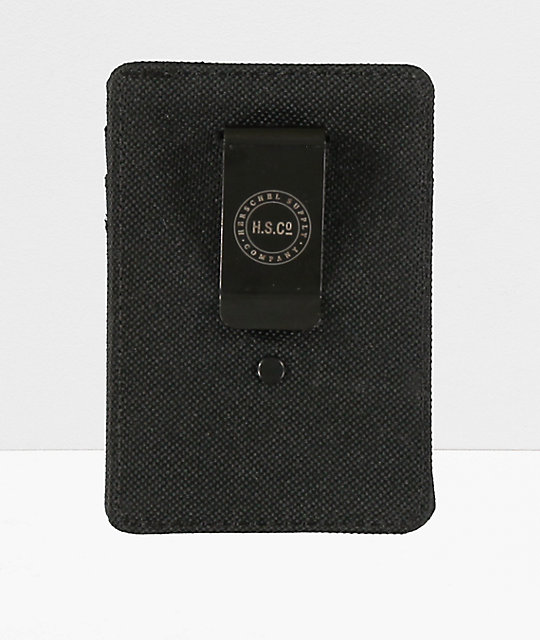 Herschel Supply Raven Black Cardholder Moneyclip Wallet