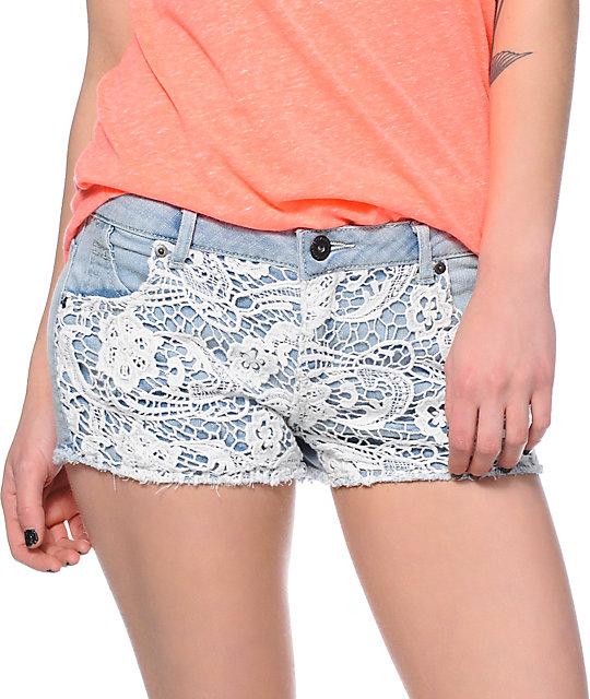 Highway Jeans Terri Lace Light Wash Denim Shorts