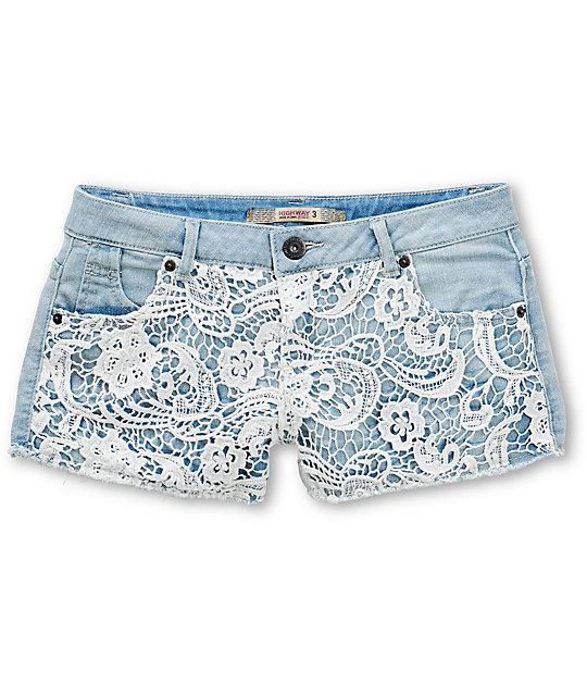 lace shorts denim