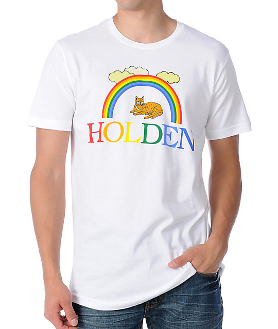 Holden Rainbow Kitty Mens White T-Shirt