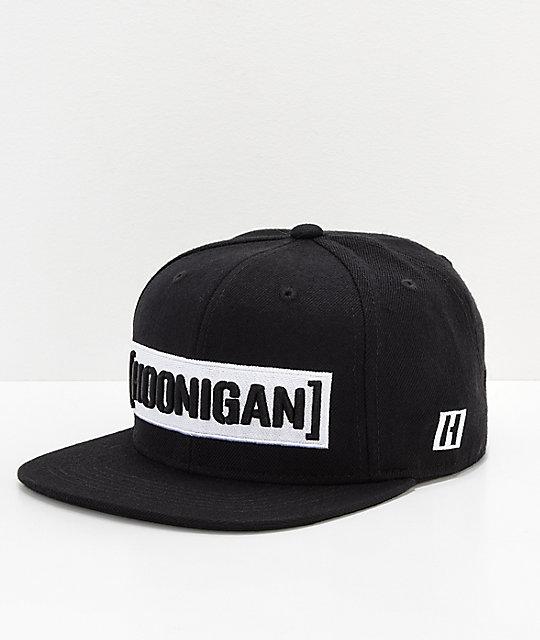 Hoonigan Censor Bar Black   White Snapback Hat  0d259a7db21
