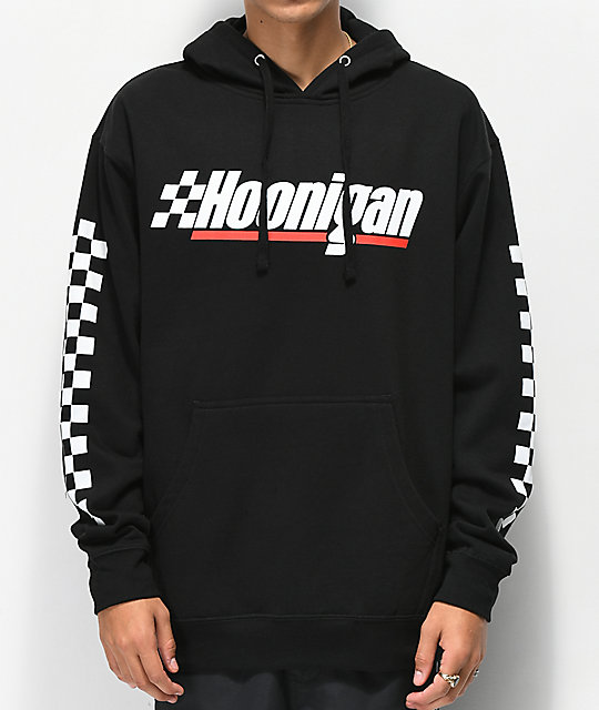 Hoonigan Checkered Flag sudadera con capucha negra