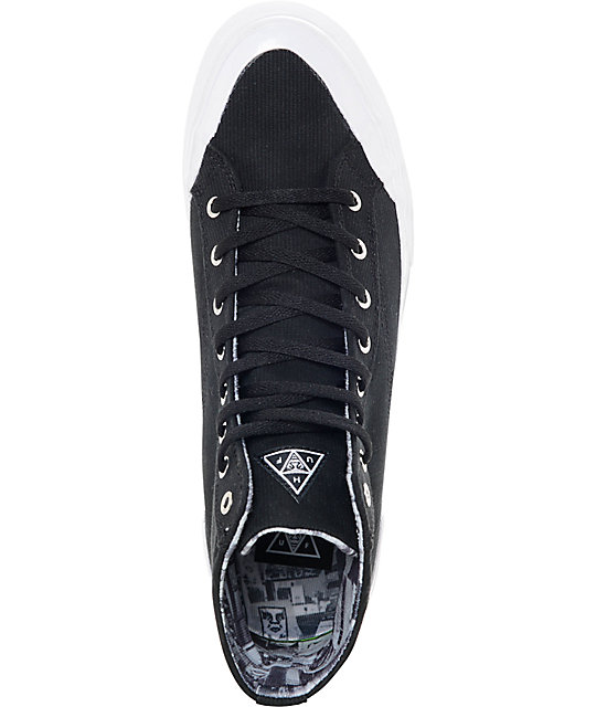 Huf X Obey Classic Hi Black & White Skate Shoes
