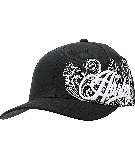 uk availability how to find official Hurley Bonafide Black Flexfit Hat | Zumiez