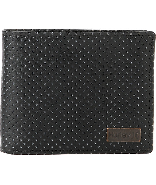 Hurley Brinx Perforated Black Leather Wallet