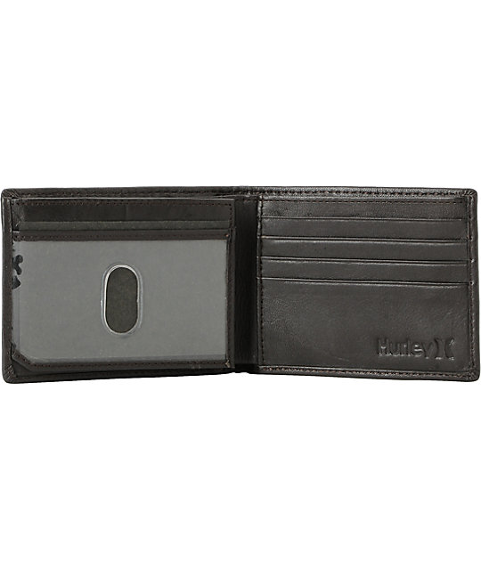 Hurley Broker Tri-Fold Brown Leather Wallet