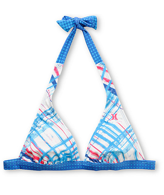 Hurley Changing Lanes Blue Plaid Halter Bikini Top