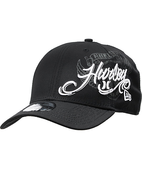 Hurley Flyer Black New Era 39Thirty Fitted Hat  8d75eac03a0