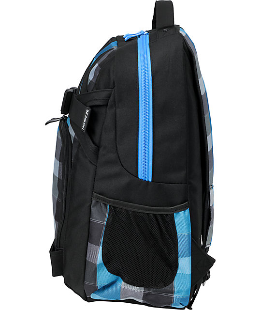 Hurley Honor Roll 2 Checkered Black & Blue Skate Skate Backpack
